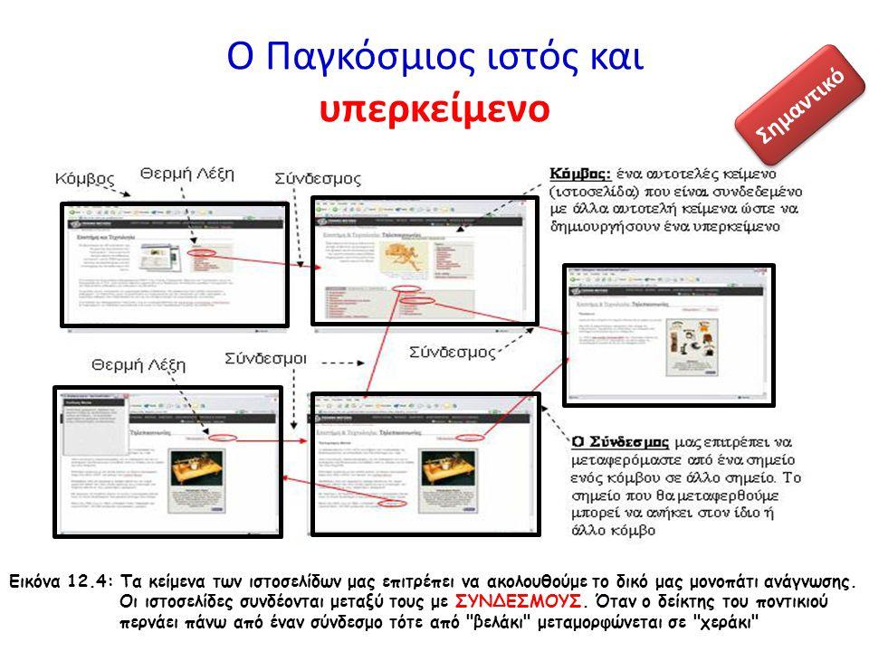 Ο Παγκόσμιος ιστός και υπερκείμενο Εικόνα 12.4: Τα κείμενα των ιστοσελίδων μας επιτρέπει να ακολουθούμε το δικό μας μονοπάτι ανάγνωσης. Οι ιστοσελίδες