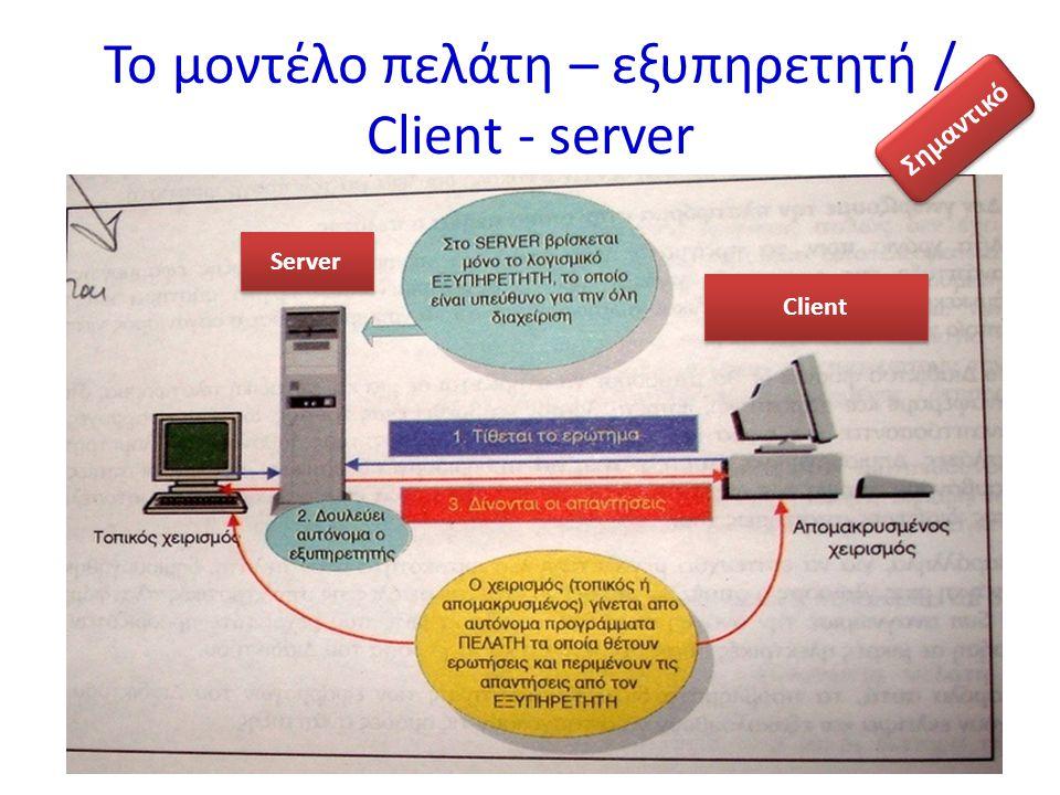 Το μοντέλο πελάτη – εξυπηρετητή / Client - server Server Client Σημαντικό