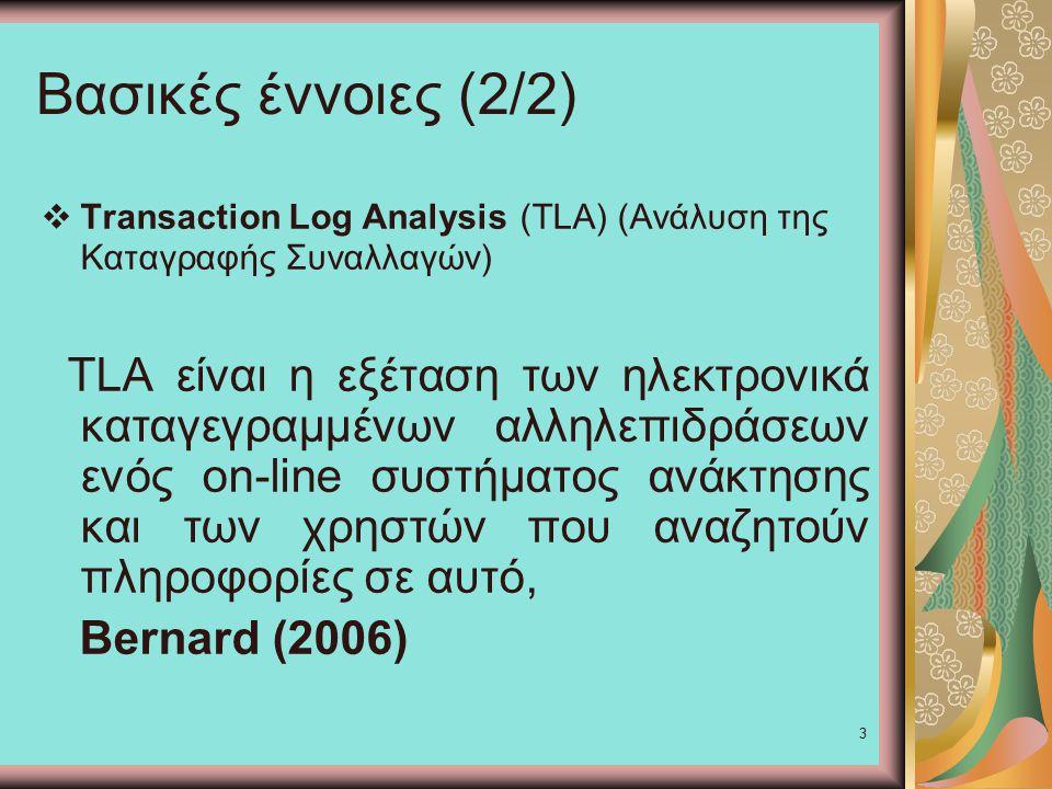 3 Βασικές έννοιες (2/2)  Transaction Log Analysis (TLA) (Ανάλυση της Καταγραφής Συναλλαγών) TLA είναι η εξέταση των ηλεκτρονικά καταγεγραμμένων αλληλεπιδράσεων ενός on-line συστήματος ανάκτησης και των χρηστών που αναζητούν πληροφορίες σε αυτό, Bernard (2006)