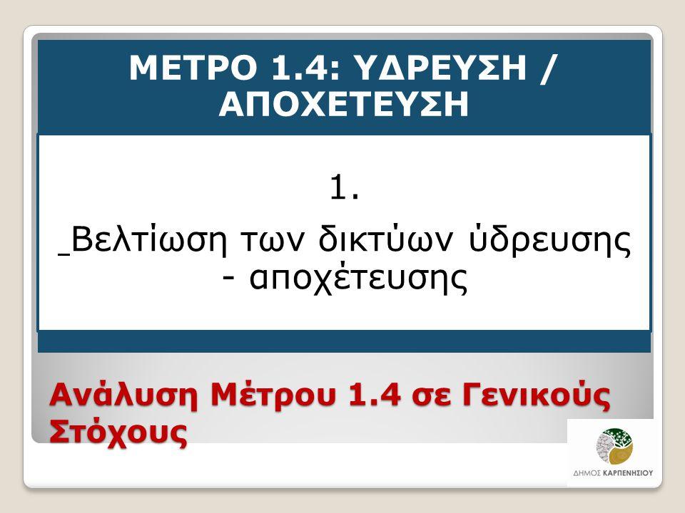 Ανάλυση Μέτρου 1.4 σε Γενικούς Στόχους ΜΕΤΡΟ 1.4: ΥΔΡΕΥΣΗ / ΑΠΟΧΕΤΕΥΣΗ 1. Βελτίωση των δικτύων ύδρευσης - αποχέτευσης 18