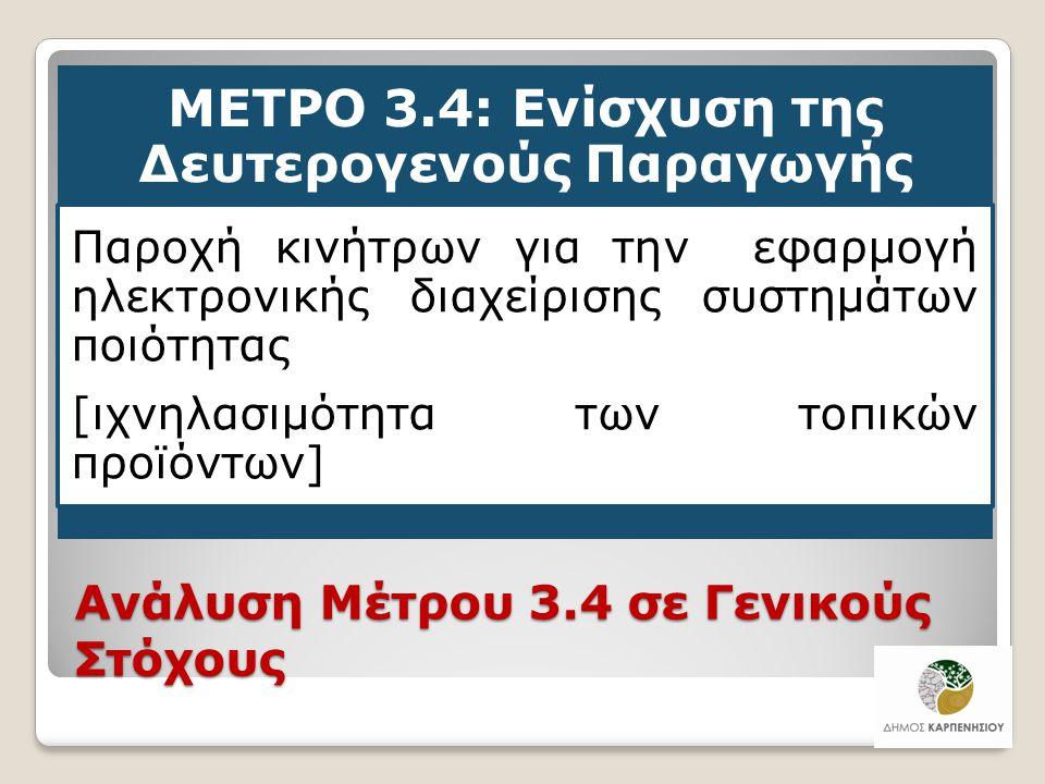 Ανάλυση Μέτρου 3.4 σε Γενικούς Στόχους ΜΕΤΡΟ 3.4: Ενίσχυση της Δευτερογενούς Παραγωγής Παροχή κινήτρων για την εφαρμογή ηλεκτρονικής διαχείρισης συστη