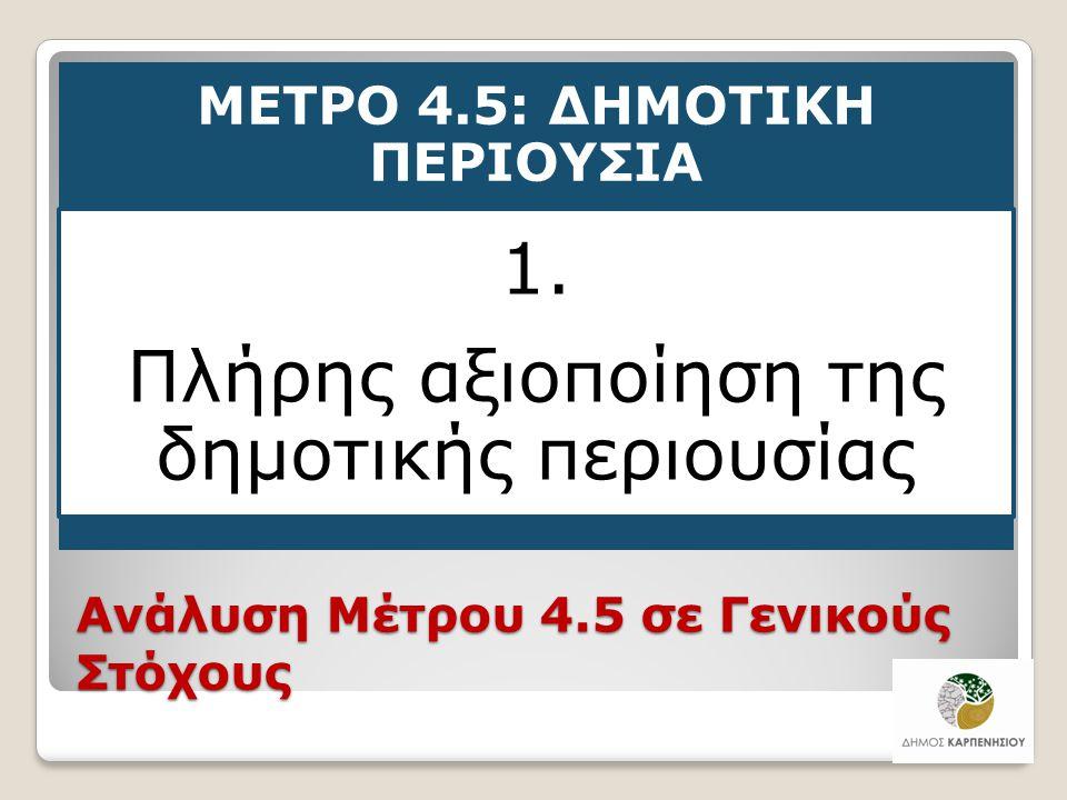 Ανάλυση Μέτρου 4.5 σε Γενικούς Στόχους ΜΕΤΡΟ 4.5: ΔΗΜΟΤΙΚΗ ΠΕΡΙΟΥΣΙΑ 1. Πλήρης αξιοποίηση της δημοτικής περιουσίας 37