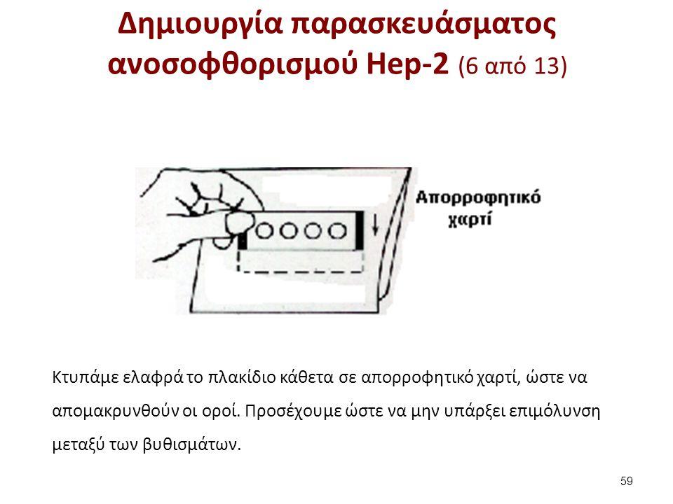 Δημιουργία παρασκευάσματος ανοσοφθορισμού Hep-2 (6 από 13) 59 Κτυπάμε ελαφρά το πλακίδιο κάθετα σε απορροφητικό χαρτί, ώστε να απομακρυνθούν οι οροί.