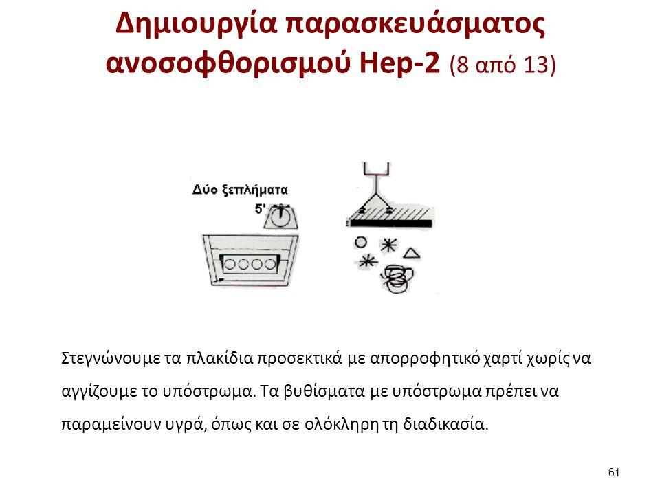 Δημιουργία παρασκευάσματος ανοσοφθορισμού Hep-2 (8 από 13) 61 Στεγνώνουμε τα πλακίδια προσεκτικά με απορροφητικό χαρτί χωρίς να αγγίζουμε το υπόστρωμα