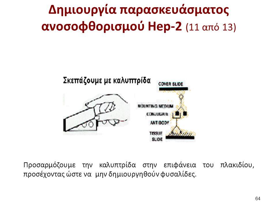 Δημιουργία παρασκευάσματος ανοσοφθορισμού Hep-2 (11 από 13) 64 Προσαρμόζουμε την καλυπτρίδα στην επιφάνεια του πλακιδίου, προσέχοντας ώστε να μην δημι