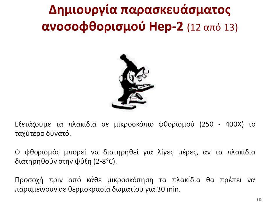 Δημιουργία παρασκευάσματος ανοσοφθορισμού Hep-2 (12 από 13) 65 Εξετάζουμε τα πλακίδια σε μικροσκόπιο φθορισμού (250 - 400Χ) το ταχύτερο δυνατό. Ο φθορ