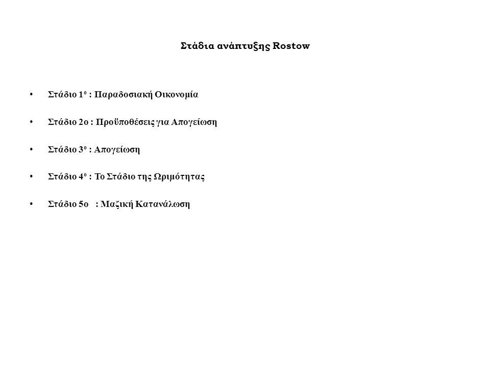 Στάδια ανάπτυξης Rostow Στάδιο 1 ο : Παραδοσιακή Οικονομία Στάδιο 2ο : Προϋποθέσεις για Απογείωση Στάδιο 3 ο : Απογείωση Στάδιο 4 ο : Το Στάδιο της Ωριμότητας Στάδιο 5o : Μαζική Κατανάλωση