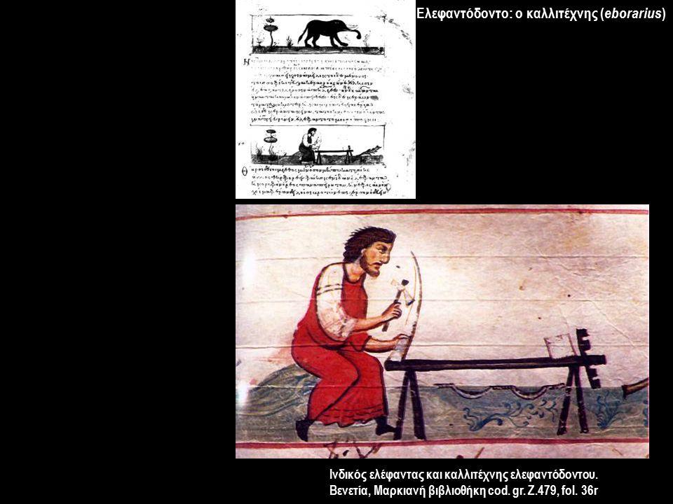 Ελεφαντόδοντο: ο καλλιτέχνης ( eborarius ) Ινδικός ελέφαντας και καλλιτέχνης ελεφαντόδοντου. Βενετία, Μαρκιανή βιβλιοθήκη cod. gr. Z.479, fol. 36r