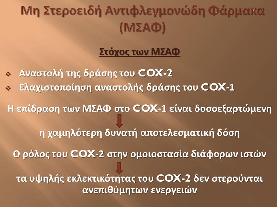 Στόχος των ΜΣΑΦ  Αναστολή της δράσης του COX-2  Ελαχιστοποίηση αναστολής δράσης του COX-1 Η επίδραση των ΜΣΑΦ στο COX-1 είναι δοσοεξαρτώμενη η χαμηλ