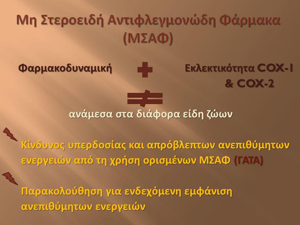 Φαρμακοδυναμική Εκλεκτικότητα COX-1 Φαρμακοδυναμική Εκλεκτικότητα COX-1 & COX-2 & COX-2 ανάμεσα στα διάφορα είδη ζώων Κίνδυνος υπερδοσίας και απρόβλεπ