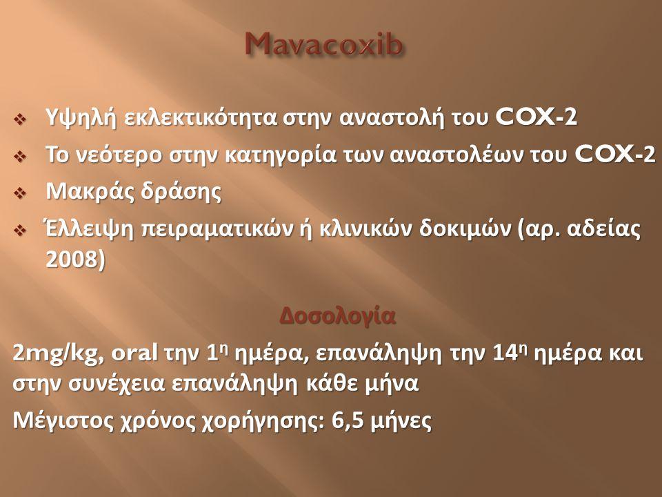  Υψηλή εκλεκτικότητα στην αναστολή του COX-2  Το νεότερο στην κατηγορία των αναστολέων του COX-2  Μακράς δράσης  Έλλειψη πειραματικών ή κλινικών δ
