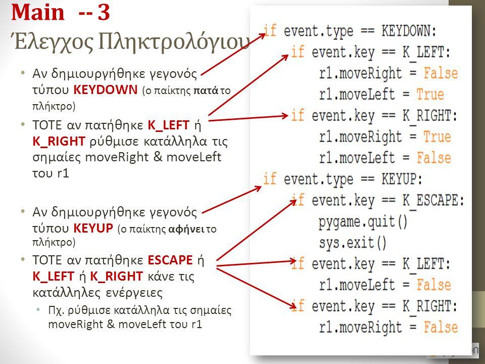 Main -- 3 Έλεγχος Πληκτρολόγιου Αν δημιουργήθηκε γεγονός τύπου KEYDOWN (ο παίκτης πατά το πλήκτρο) ΤΟΤΕ αν πατήθηκε K_LEFT ή K_RIGHT ρύθμισε κατάλληλα