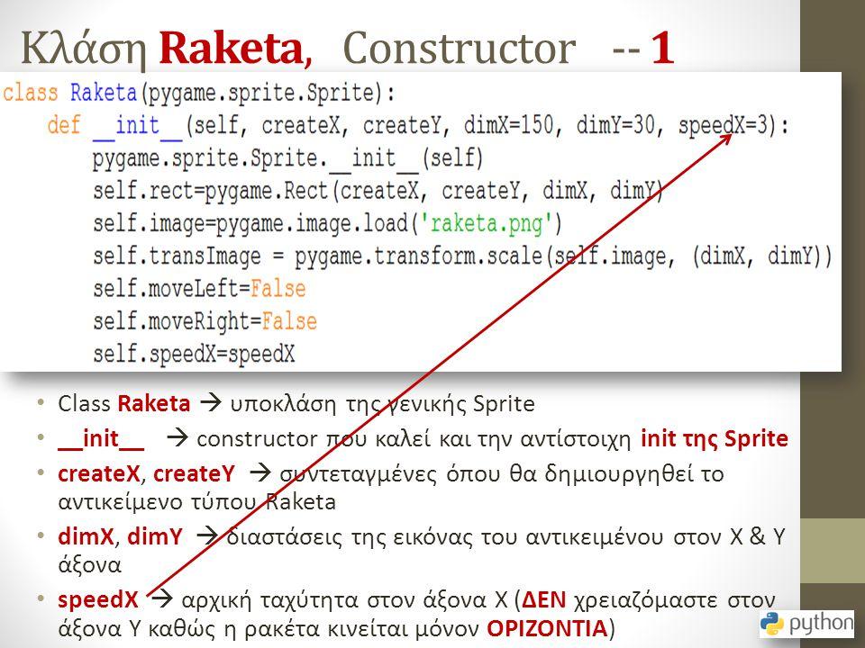 Κλάση Raketa, Constructor -- 1 Class Raketa  υποκλάση της γενικής Sprite __init__  constructor που καλεί και την αντίστοιχη init της Sprite createX,