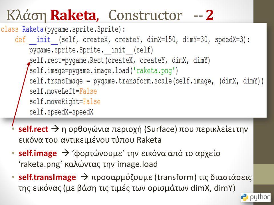 Κλάση Raketa, Constructor -- 2 self.rect  η ορθογώνια περιοχή (Surface) που περικλείει την εικόνα του αντικειμένου τύπου Raketa self.image  'φορτώνο