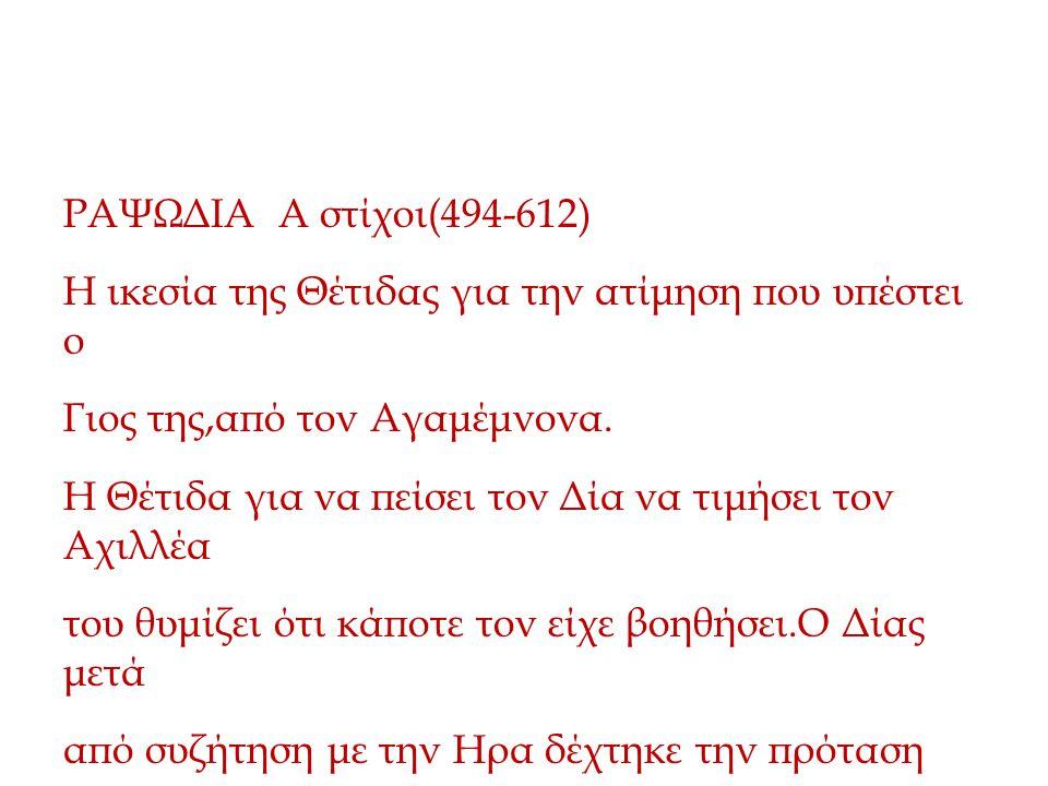 Διάλογος Θέτιδας - Δίας ΡΑΨΩΔΙΑ Α στίχοι(494-612) Η ικεσία της Θέτιδας για την ατίμηση που υπέστει ο Γιος της,από τον Αγαμέμνονα. Η Θέτιδα για να πείσ