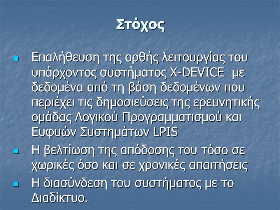 Στόχος Επαλήθευση της ορθής λειτουργίας του υπάρχοντος συστήματος X-DEVICE με δεδομένα από τη βάση δεδομένων που περιέχει τις δημοσιεύσεις της ερευνητικής ομάδας Λογικού Προγραμματισμού και Ευφυών Συστημάτων LPIS Επαλήθευση της ορθής λειτουργίας του υπάρχοντος συστήματος X-DEVICE με δεδομένα από τη βάση δεδομένων που περιέχει τις δημοσιεύσεις της ερευνητικής ομάδας Λογικού Προγραμματισμού και Ευφυών Συστημάτων LPIS Η βελτίωση της απόδοσης του τόσο σε χωρικές όσο και σε χρονικές απαιτήσεις Η βελτίωση της απόδοσης του τόσο σε χωρικές όσο και σε χρονικές απαιτήσεις Η διασύνδεση του συστήματος με το Διαδίκτυο.