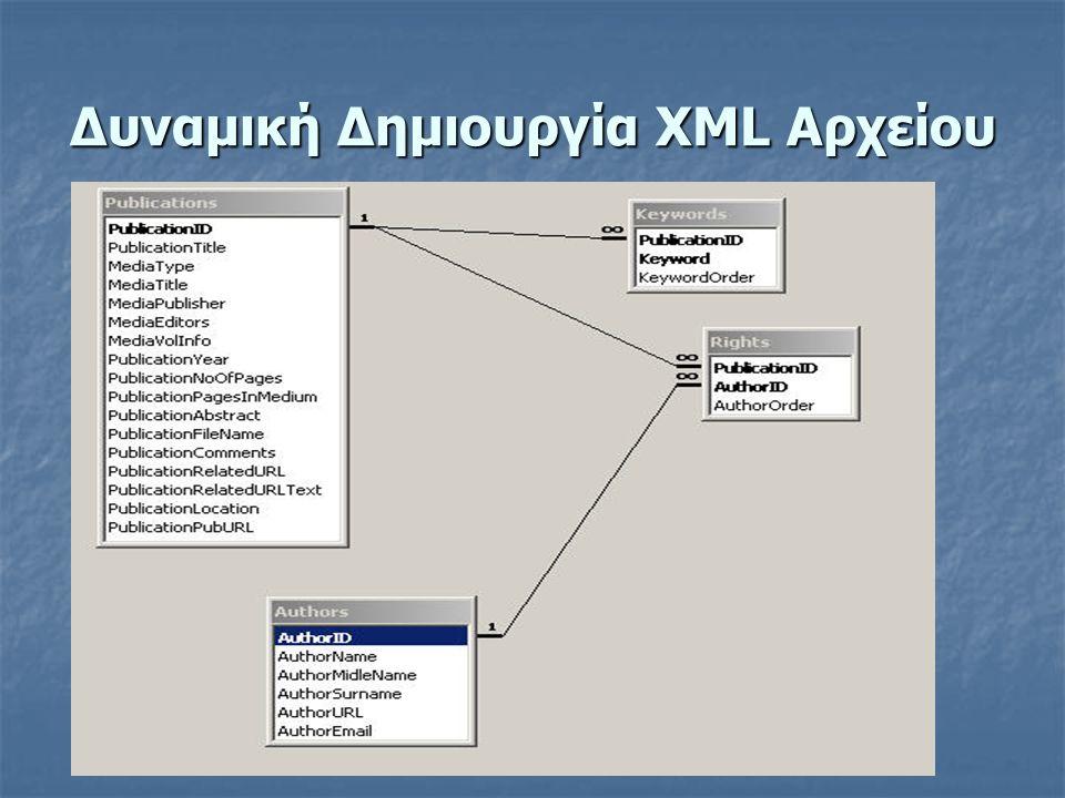 Δυναμική Δημιουργία XML Αρχείου