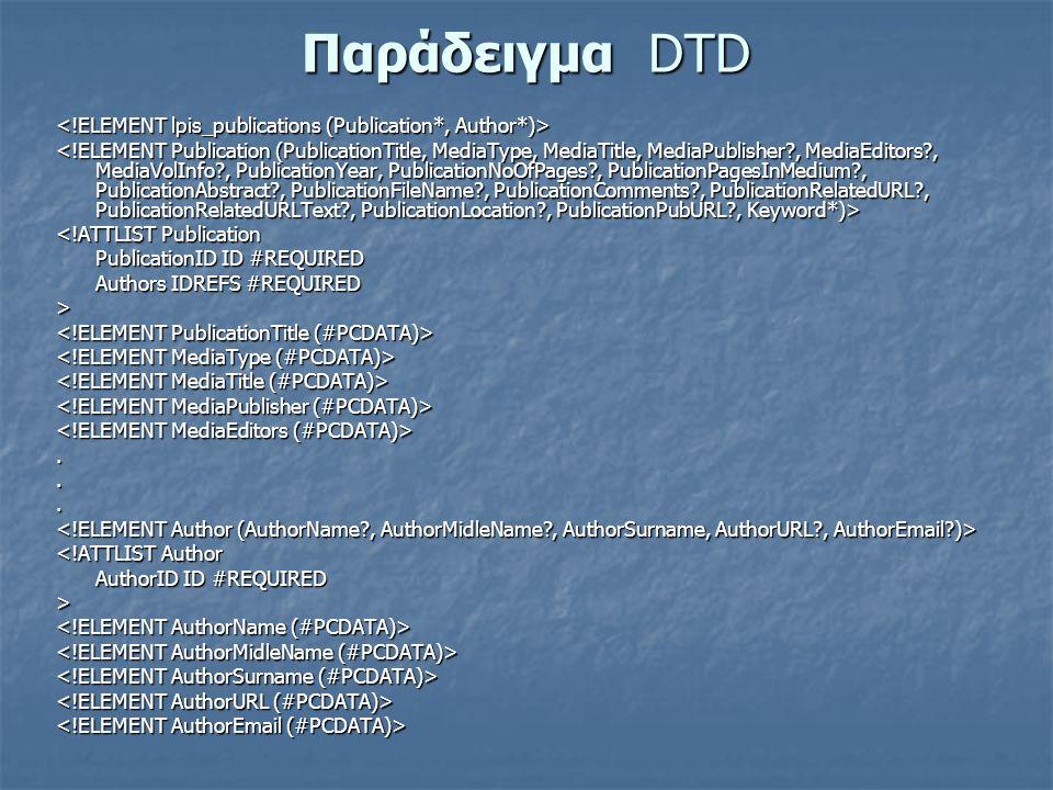 Παράδειγμα DTD <!ATTLIST Publication PublicationID ID #REQUIRED Authors IDREFS #REQUIRED >...