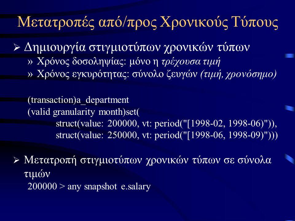 Μετατροπές από/προς Χρονικούς Τύπους  Δημιουργία στιγμιοτύπων χρονικών τύπων »Χρόνος δοσοληψίας: μόνο η τρέχουσα τιμή »Χρόνος εγκυρότητας: σύνολο ζευγών (τιμή, χρονόσημο) (transaction)a_department (valid granularity month)set( struct(value: 200000, vt: period( [1998-02, 1998-06) )), struct(value: 250000, vt: period( [1998-06, 1998-09) )))  Μετατροπή στιγμιοτύπων χρονικών τύπων σε σύνολα τιμών 200000 > any snapshot e.salary