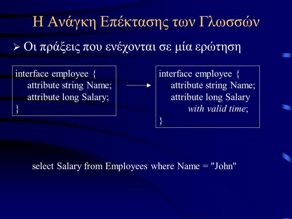 Η Ανάγκη Επέκτασης των Γλωσσών  Οι πράξεις που ενέχονται σε μία ερώτηση interface employee { attribute string Name; attribute long Salary; } interface employee { attribute string Name; attribute long Salary with valid time; } select Salary from Employees where Name = John