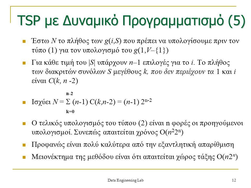 12 Έστω N το πλήθος των g(i,S) που πρέπει να υπολογίσουμε πριν τον τύπο (1) για τον υπολογισμό του g(1,V–{1}) Για κάθε τιμή του |S| υπάρχουν n–1 επιλο