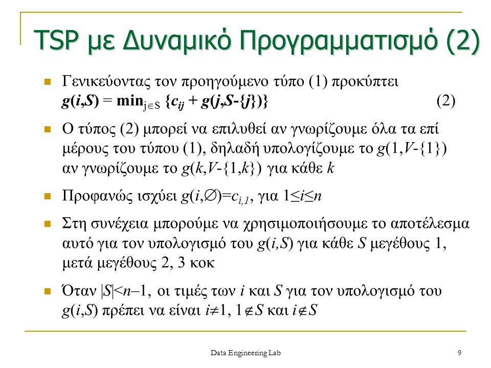 10 Παράδειγμα: έστω ο κατευθυνόμενος ζυγισμένος γράφος με αναπαράσταση Ισχύει κατά σειρά g(2,  ) = c 21 = 5 g(3,  ) = c 31 = 6 g(4,  ) = c 41 = 8 Στη συνέχεια g(2,{3}) = c 23 +g(3,  ) = 9+6 = 15 g(2,{4}) = c 24 +g(4,  ) = 10+8 = 18 g(3,{2}) = c 32 +g(2,  ) = 13+5 = 18 g(3,{4}) = c 34 +g(4,  ) = 12+8 = 20 g(4,{2}) = c 42 +g(2,  ) = 8+5 = 13 g(4,{3}) = c 43 +g(3,  ) = 9+6 =15 TSP με Δυναμικό Προγραμματισμό (3) 0101520 50910 613012 8890 Data Engineering Lab