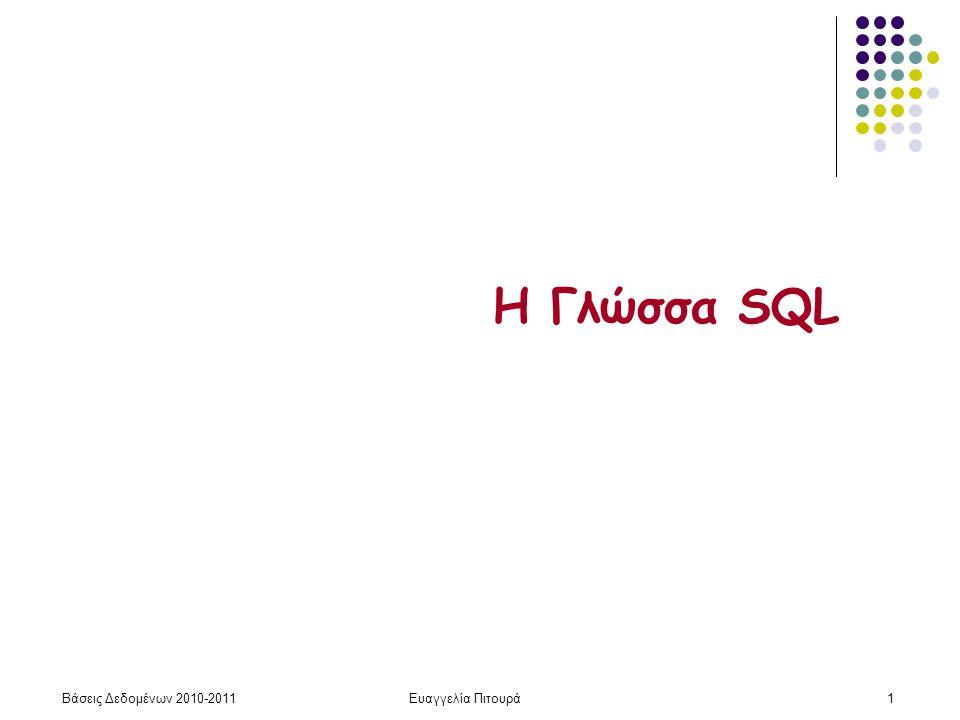 Βάσεις Δεδομένων 2010-2011Ευαγγελία Πιτουρά162 Η Γλώσσα SQL (Μέρος 3: Όψεις, Συνενώσεις)