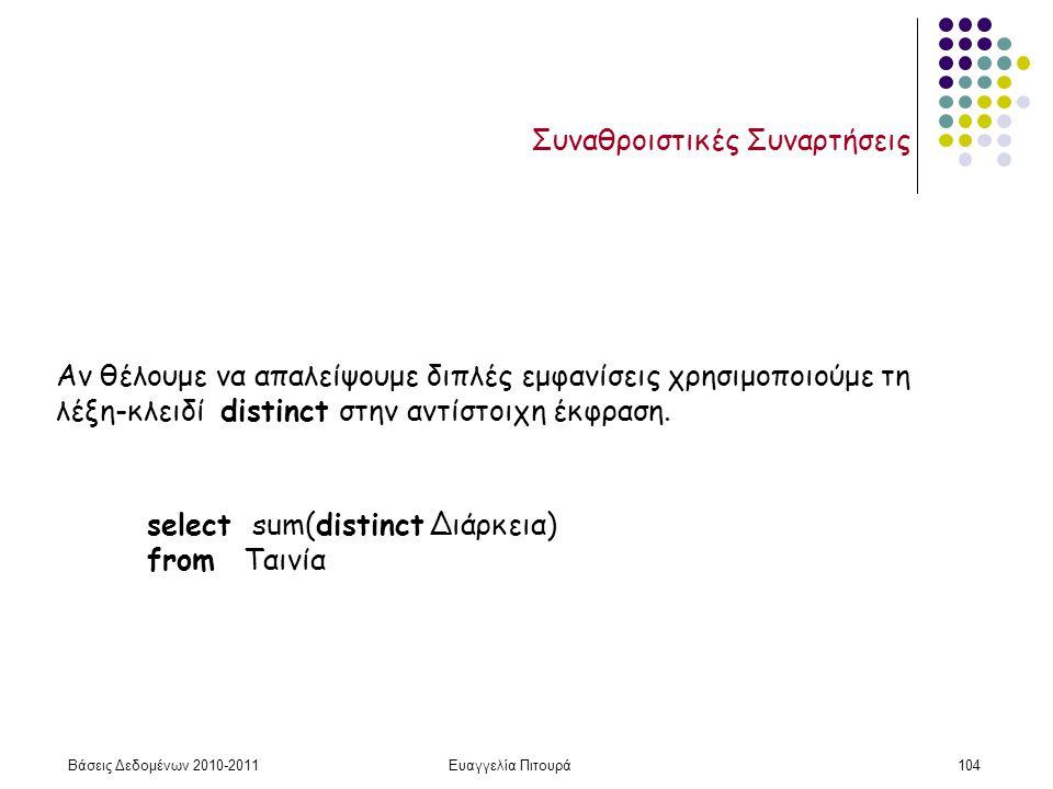 Βάσεις Δεδομένων 2010-2011Ευαγγελία Πιτουρά104 Συναθροιστικές Συναρτήσεις Αν θέλουμε να απαλείψουμε διπλές εμφανίσεις χρησιμοποιούμε τη λέξη-κλειδί distinct στην αντίστοιχη έκφραση.