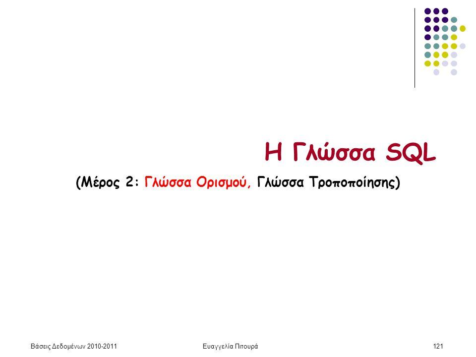 Βάσεις Δεδομένων 2010-2011Ευαγγελία Πιτουρά121 Η Γλώσσα SQL (Μέρος 2: Γλώσσα Ορισμού, Γλώσσα Τροποποίησης)