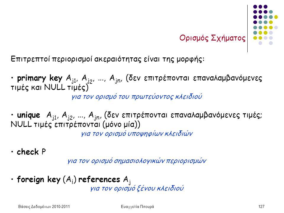 Βάσεις Δεδομένων 2010-2011Ευαγγελία Πιτουρά127 Ορισμός Σχήματος Επιτρεπτοί περιορισμοί ακεραιότητας είναι της μορφής: primary key A j 1, A j 2,..., A j n, (δεν επιτρέπονται επαναλαμβανόμενες τιμές και NULL τιμές) για τον ορισμό του πρωτεύοντος κλειδιού unique A j 1, A j 2,..., A j n, (δεν επιτρέπονται επαναλαμβανόμενες τιμές; NULL τιμές επιτρέπονται (μόνο μία)) για τον ορισμό υποψηφίων κλειδιών check P για τον ορισμό σημασιολογικών περιορισμών foreign key (A i ) references A j για τον ορισμό ξένου κλειδιού