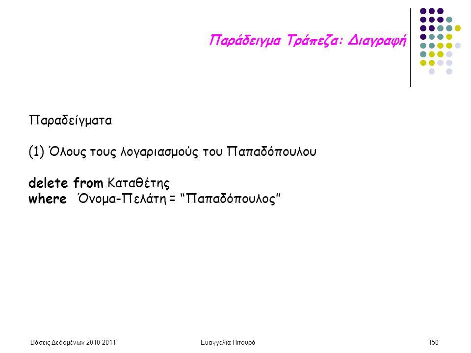 Βάσεις Δεδομένων 2010-2011Ευαγγελία Πιτουρά150 Παραδείγματα (1) Όλους τους λογαριασμούς του Παπαδόπουλου delete from Καταθέτης where Όνομα-Πελάτη = Παπαδόπουλος Παράδειγμα Τράπεζα: Διαγραφή