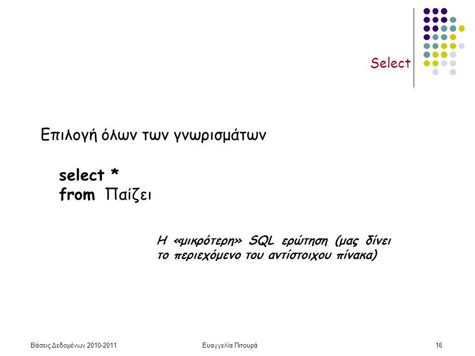 Βάσεις Δεδομένων 2010-2011Ευαγγελία Πιτουρά16 Select select * from Παίζει Επιλογή όλων των γνωρισμάτων Η «μικρότερη» SQL ερώτηση (μας δίνει το περιεχόμενο του αντίστοιχου πίνακα)