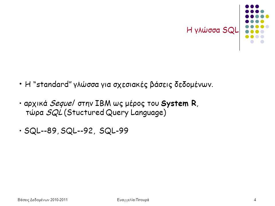 Βάσεις Δεδομένων 2010-2011Ευαγγελία Πιτουρά125 Γλώσσα Ορισμού Δεδομένων Γλώσσα Ορισμού Δεδομένων (ΓΟΔ) Σχετικά με το λογικό σχήμα, η ΓΟΔ SQL υποστηρίζει τους ορισμούς: του σχήματος κάθε σχέσης του πεδίου τιμών κάθε γνωρίσματος των περιορισμών ακεραιότητας Δείτε και τις σχετικές διαφάνειες προηγούμενου μαθήματος