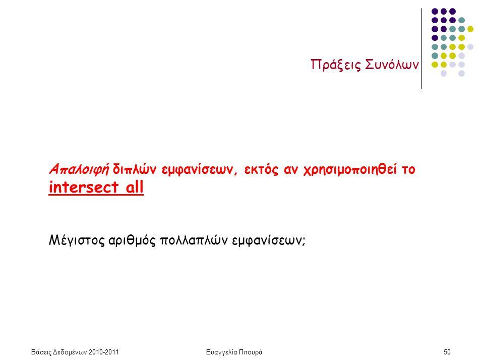 Βάσεις Δεδομένων 2010-2011Ευαγγελία Πιτουρά50 Πράξεις Συνόλων Απαλοιφή διπλών εμφανίσεων, εκτός αν χρησιμοποιηθεί το intersect all Μέγιστος αριθμός πολλαπλών εμφανίσεων;