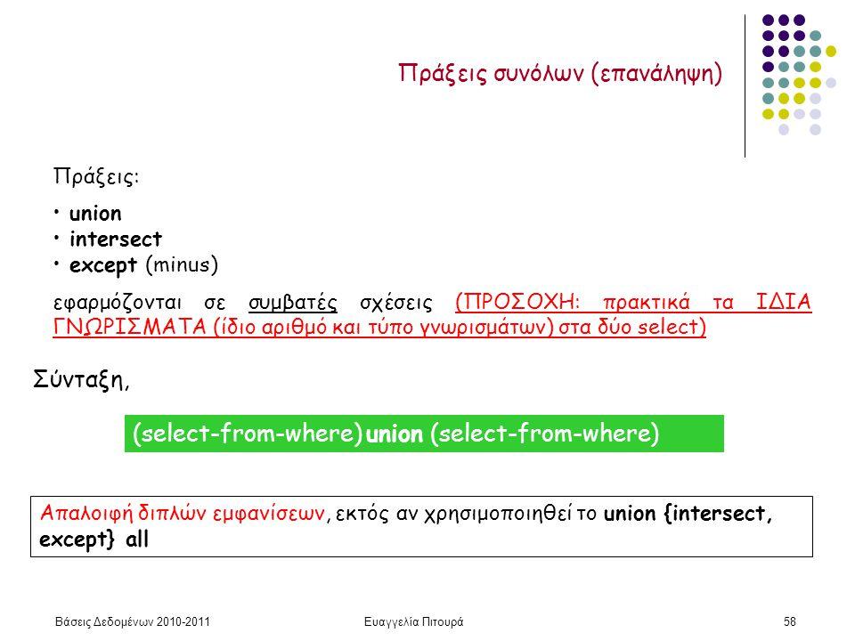 Βάσεις Δεδομένων 2010-2011Ευαγγελία Πιτουρά58 Πράξεις συνόλων (επανάληψη) Πράξεις: union intersect except (minus) εφαρμόζονται σε συμβατές σχέσεις (ΠΡΟΣΟΧΗ: πρακτικά τα ΙΔΙΑ ΓΝΩΡΙΣΜΑΤΑ (ίδιο αριθμό και τύπο γνωρισμάτων) στα δύο select) Σύνταξη, Απαλοιφή διπλών εμφανίσεων, εκτός αν χρησιμοποιηθεί το union {intersect, except} all (select-from-where) union (select-from-where)