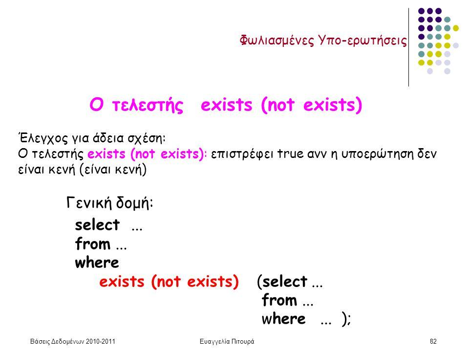 Βάσεις Δεδομένων 2010-2011Ευαγγελία Πιτουρά82 Φωλιασμένες Υπο-ερωτήσεις Ο τελεστής exists (not exists) Γενική δομή: select...