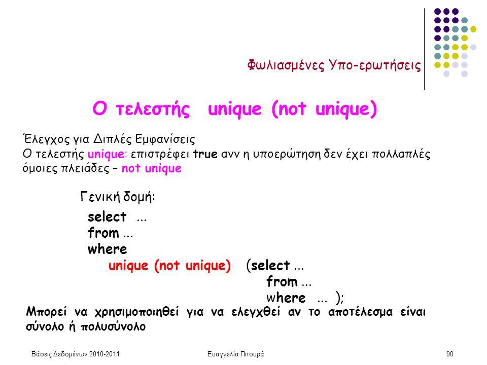 Βάσεις Δεδομένων 2010-2011Ευαγγελία Πιτουρά90 Φωλιασμένες Υπο-ερωτήσεις Έλεγχος για Διπλές Εμφανίσεις Ο τελεστής unique: επιστρέφει true ανν η υποερώτηση δεν έχει πολλαπλές όμοιες πλειάδες – not unique Μπορεί να χρησιμοποιηθεί για να ελεγχθεί αν το αποτέλεσμα είναι σύνολο ή πολυσύνολο Γενική δομή: select...
