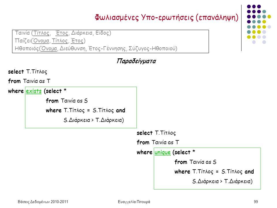 Βάσεις Δεδομένων 2010-2011Ευαγγελία Πιτουρά99 Φωλιασμένες Υπο-ερωτήσεις (επανάληψη) Παραδείγματα Ταινία (Τίτλος, Έτος, Διάρκεια, Είδος) Παίζει(Όνομα, Τίτλος, Έτος) Ηθοποιός(Όνομα, Διεύθυνση, Έτος-Γέννησης, Σύζυγος-Ηθοποιού) select Τ.Τίτλος from Ταινία as T where exists (select * from Ταινία as S where T.Τίτλος = S.Tίτλος and S.Διάρκεια > Τ.Διάρκεια) select Τ.Τίτλος from Ταινία as T where unique (select * from Ταινία as S where T.Τίτλος = S.Tίτλος and S.Διάρκεια > Τ.Διάρκεια)