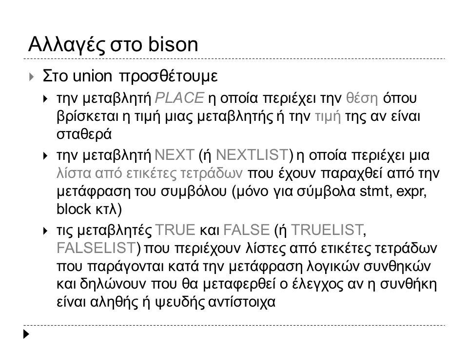 Αλλαγές στο bison  Στο union προσθέτουμε  την μεταβλητή PLACE η οποία περιέχει την θέση όπου βρίσκεται η τιμή μιας μεταβλητής ή την τιμή της αν είναι σταθερά  την μεταβλητή NEXT (ή NEXTLIST) η οποία περιέχει μια λίστα από ετικέτες τετράδων που έχουν παραχθεί από την μετάφραση του συμβόλου (μόνο για σύμβολα stmt, expr, block κτλ)  τις μεταβλητές TRUE και FALSE (ή TRUELIST, FALSELIST) που περιέχουν λίστες από ετικέτες τετράδων που παράγονται κατά την μετάφραση λογικών συνθηκών και δηλώνουν που θα μεταφερθεί ο έλεγχος αν η συνθήκη είναι αληθής ή ψευδής αντίστοιχα