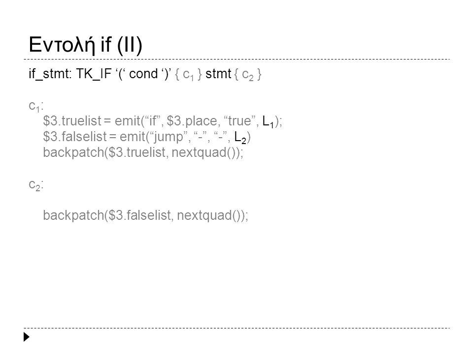 Εντολή if – else (I)  if (expr) stmt 1 else stmt 2 Ενδιάμεσος κώδικας για το expr if, t expr, true, l 1 Ενδιάμεσος κώδικας για το stmt 1 l 1 : … jump, -, -, l 2 l 2 : … jump, -, -, l 3 Ενδιάμεσος κώδικας για το stmt 2 l 3 : … if (x > y) a = x; else a = y; 1: great, x, y, 4 2: assign, false, -, t 1 3: jump, -, -, 5 4: assign, true, -, t 1 5, if, t 1, true, 7 6: jump, -, -, 9 7: assign, a, -, x 8: jump, -, -, 10 9: assign, a, -, y 10: … expr quads (1 – 4) if quads (5 – 6) stmt 1 quad stmt 2 quad