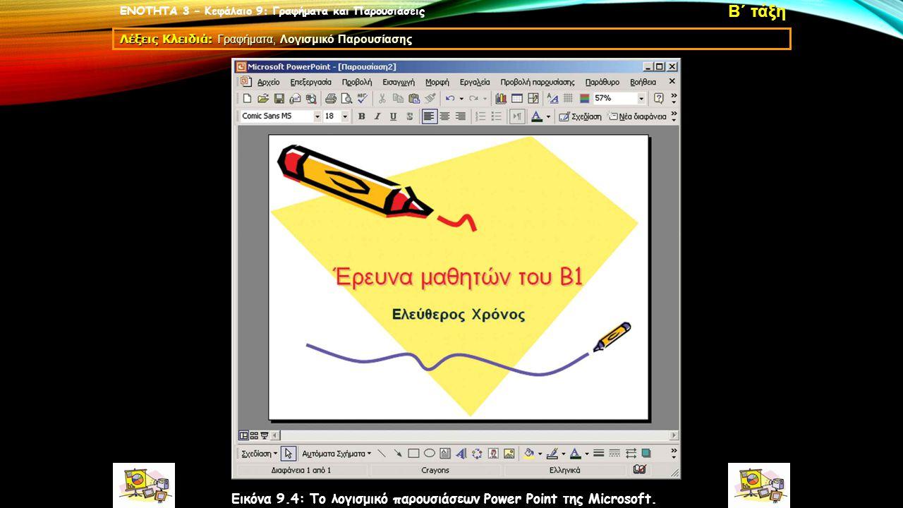 ΕΝΟΤΗΤΑ 3 – Κεφάλαιο 9: Γραφήματα και Παρουσιάσεις Λέξεις Κλειδιά: Γραφήματα, Λογισμικό Παρουσίασης Β΄ τάξη Εικόνα 9.4: Το λογισμικό παρουσιάσεων Power Point της Microsoft.