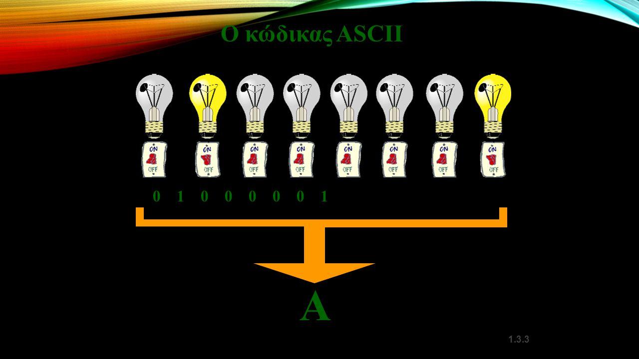 1.3.3 0100000101000001 Α Ο κώδικας ASCII