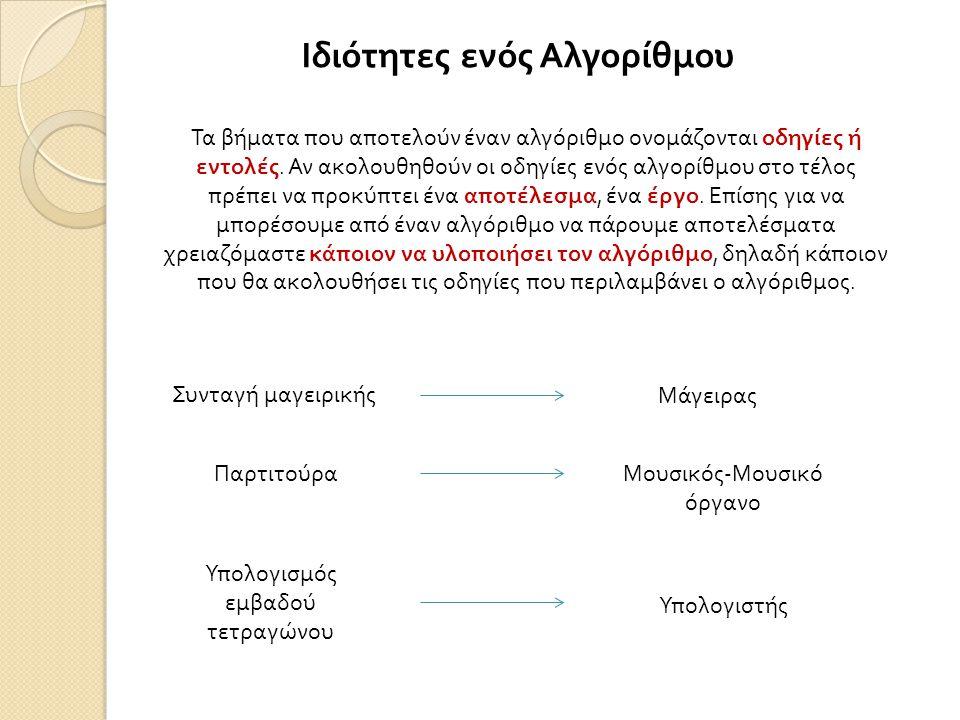 Ιδιότητες ενός Αλγορίθμου Τα βήματα που αποτελούν έναν αλγόριθμο ονομάζονται οδηγίες ή εντολές. Αν ακολουθηθούν οι οδηγίες ενός αλγορίθμου στο τέλος π