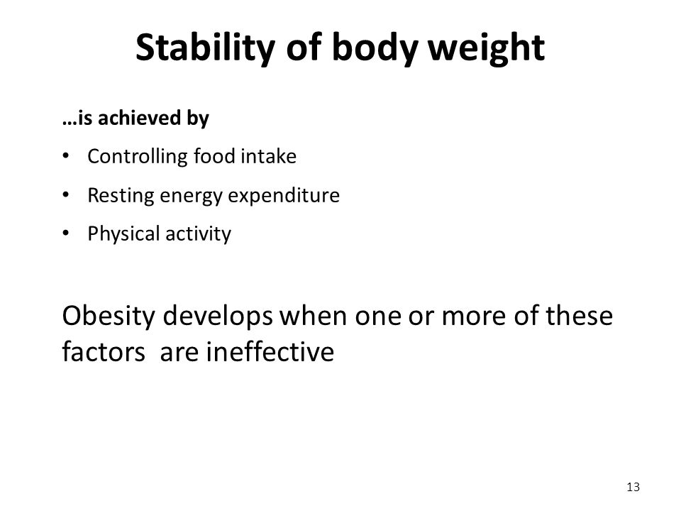 Stability of body weight …is achieved by Controlling food intake Resting energy expenditure Physical activity Obesity develops when one or more of these factors are ineffective 13
