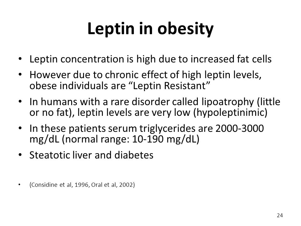 Leptin in obesity Leptin concentration is high due to increased fat cells However due to chronic effect of high leptin levels, obese individuals are Leptin Resistant In humans with a rare disorder called lipoatrophy (little or no fat), leptin levels are very low (hypoleptinimic) In these patients serum triglycerides are 2000-3000 mg/dL (normal range: 10-190 mg/dL) Steatotic liver and diabetes (Considine et al, 1996, Oral et al, 2002) 24