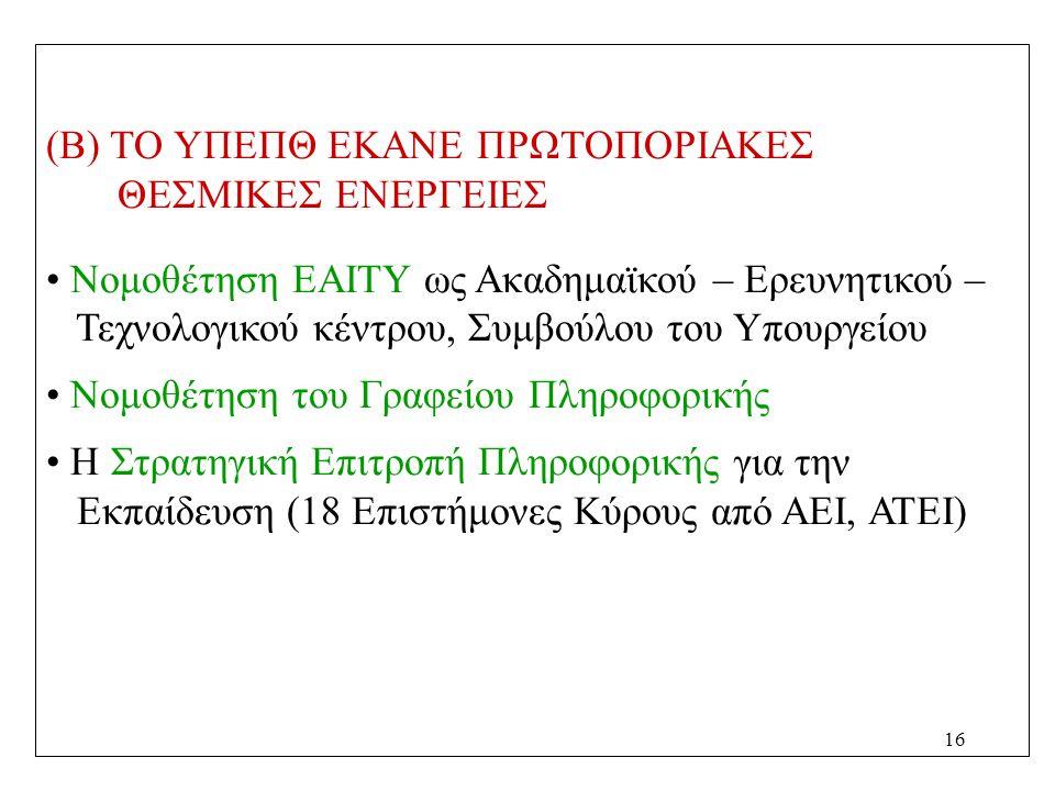 16 (Β) ΤΟ ΥΠΕΠΘ ΕΚΑΝΕ ΠΡΩΤΟΠΟΡΙΑΚΕΣ ΘΕΣΜΙΚΕΣ ΕΝΕΡΓΕΙΕΣ Νομοθέτηση ΕΑΙΤΥ ως Ακαδημαϊκού – Ερευνητικού – Τεχνολογικού κέντρου, Συμβούλου του Υπουργείου