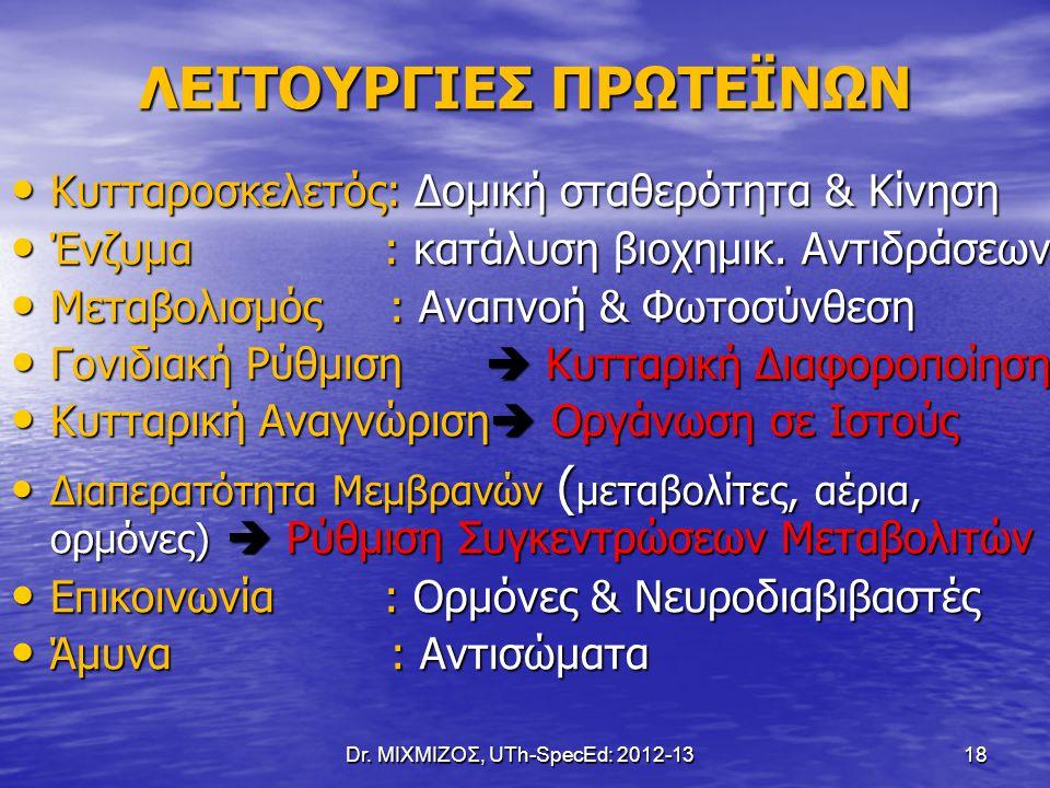 Dr. ΜΙΧΜΙΖΟΣ, UTh-SpecEd: 2012-13 18 ΛΕΙΤΟΥΡΓΙΕΣ ΠΡΩΤΕΪΝΩΝ Κυτταροσκελετός: Δομική σταθερότητα & Κίνηση Κυτταροσκελετός: Δομική σταθερότητα & Κίνηση Έ