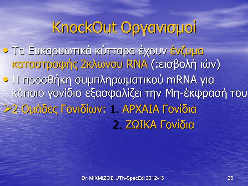 KnockOut Οργανισμοί Dr. ΜΙΧΜΙΖΟΣ, UTh-SpecEd: 2012-13 23 Τα Ευκαρυωτικά κύτταρα έχουν ένζυμα καταστροφής 2κλωνου RNA (:εισβολή ιών) Τα Ευκαρυωτικά κύτ