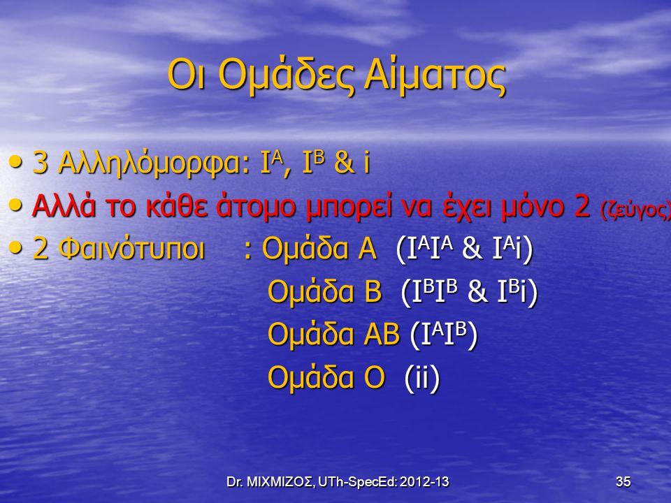 Oι Ομάδες Αίματος 3 Αλληλόμορφα: Ι Α, Ι Β & i 3 Αλληλόμορφα: Ι Α, Ι Β & i Αλλά το κάθε άτομο μπορεί να έχει μόνο 2 (ζεύγος) Αλλά το κάθε άτομο μπορεί