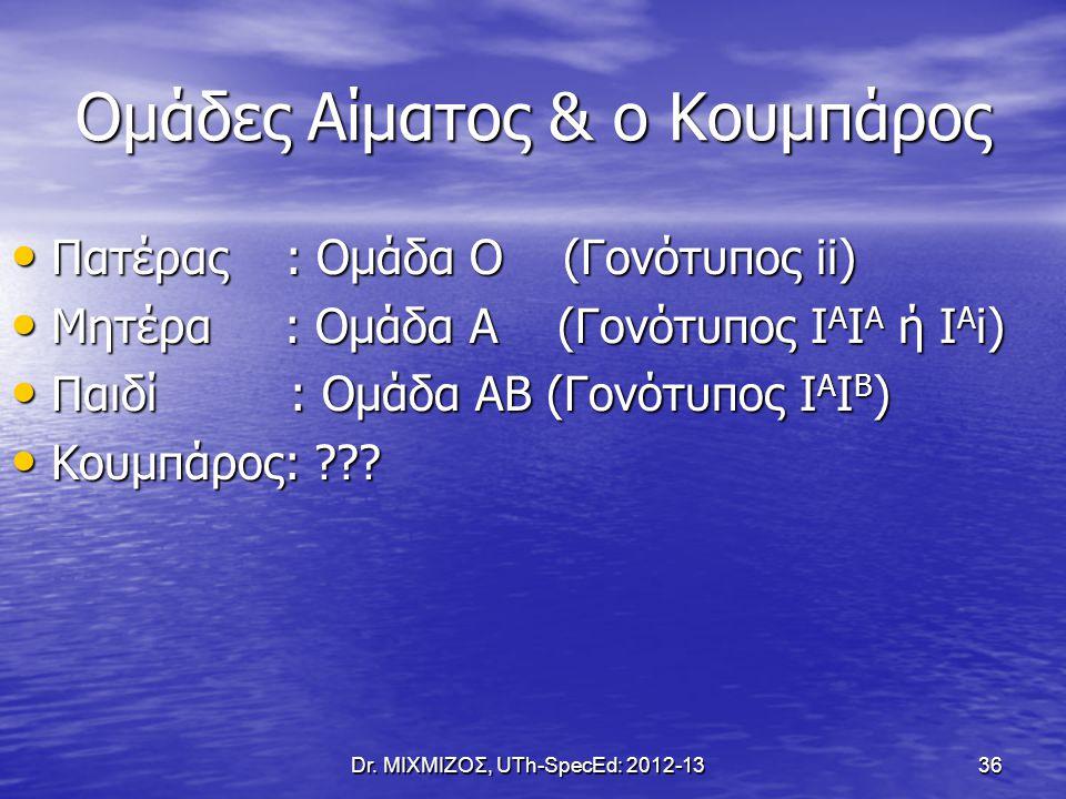 Ομάδες Αίματος & ο Κουμπάρος Dr. ΜΙΧΜΙΖΟΣ, UTh-SpecEd: 2012-13 36 Πατέρας : Ομάδα Ο (Γονότυπος ii) Πατέρας : Ομάδα Ο (Γονότυπος ii) Μητέρα : Ομάδα Α (